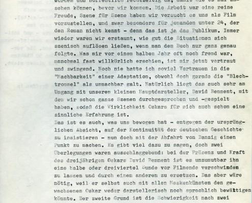 DIE BLECHTROMMEL // Korrespondenz / Brief an Günter Grass 1