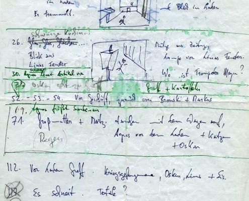 DIE BLECHTROMMEL // Produktionsunterlagen / Notizen und Skizzen 1a