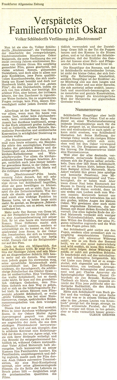 DIE BLECHTROMMEL // Presse / Filmkritik Frankfurter Allgemeine Zeitung
