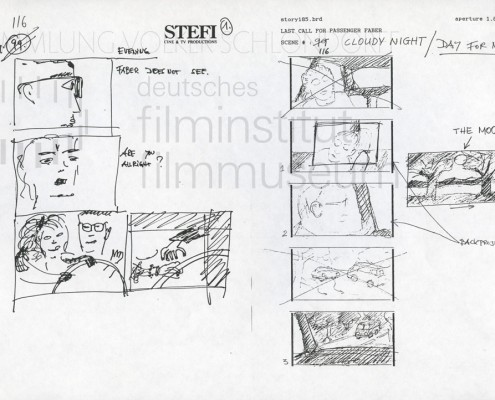 "HOMO FABER // Produktionsunterlagen / Storyboard ""Scene 116"""