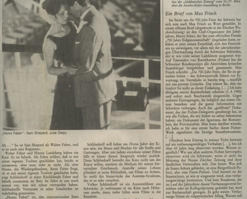 HOMO FABER // Presse / Filmkritik Die Zeit b