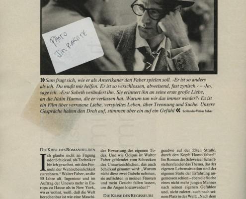 HOMO FABER // Presse / Filmkritik Zeit Magazin e