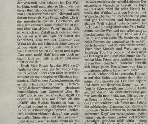 HOMO FABER // Presse / Filmkritik Frankfurter Allgemeine Zeitung
