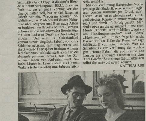 HOMO FABER // Presse / Filmkritik Frankfurter Allgemeine Zeitung b