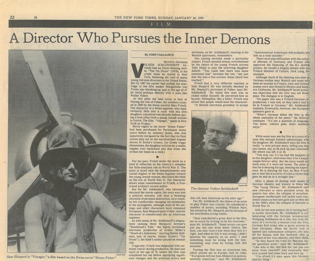 HOMO FABER // Presse / Filmkritik The New York Times