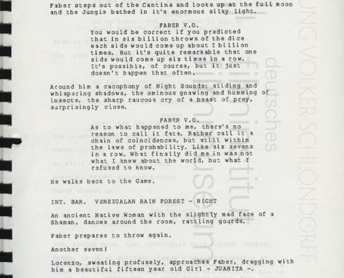 HOMO FABER // Vorbereitungsmaterial / Erste Fassung Drehbuch (Auszug) b
