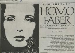 HOMO FABER // Werbung und Verleih / Anzeige 2