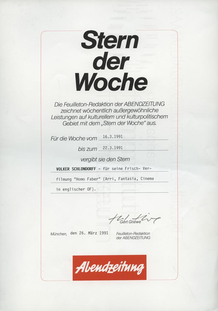 HOMO FABER // Auszeichnungen / Stern der Woche
