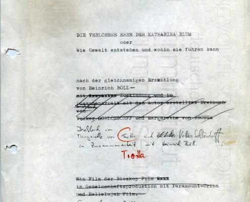 DIE VERLORENE EHRE DER KATHARINA BLUM // Produktionsunterlagen / Entwurf Drehbuch-Titelseite