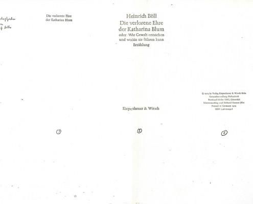 DIE VERLORENE EHRE DER KATHARINA BLUM // Vorbereitungsmaterial / Druckfahnen des Romans c