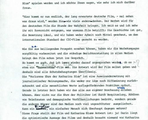 DIE VERLORENE EHRE DER KATHARINA BLUM // Korrespondenz 2