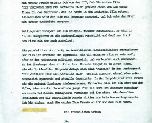 DIE VERLORENE EHRE DER KATHARINA BLUM // Korrespondenz 3