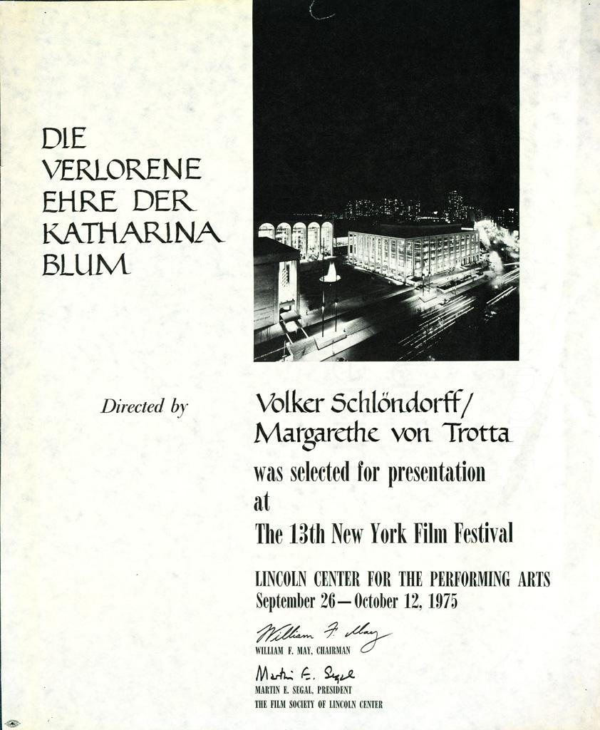 DIE VERLORENE EHRE DER KATHARINA BLUM // Preise und Veranstaltungen / Urkunde 13. New York Film Festival