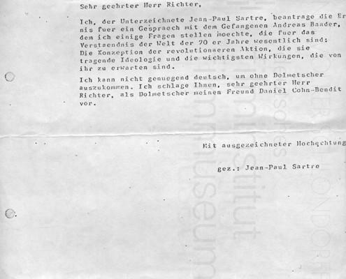 DIE VERLORENE EHRE DER KATHARINA BLUM // Vorbereitungsmaterial / Konvolut zu Sartres Besuch in Stuttgart-Stammheim a