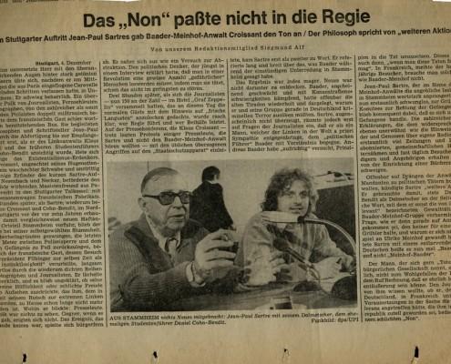 DIE VERLORENE EHRE DER KATHARINA BLUM // Vorbereitungsmaterial / Konvolut zu Sartres Besuchsantrag in Stuttgart-Stammheim e