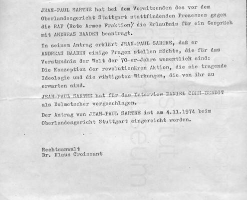 DIE VERLORENE EHRE DER KATHARINA BLUM // Vorbereitungsmaterial / Konvolut zu Sartres Besuchsantrag in Stuttgart-Stammheim d