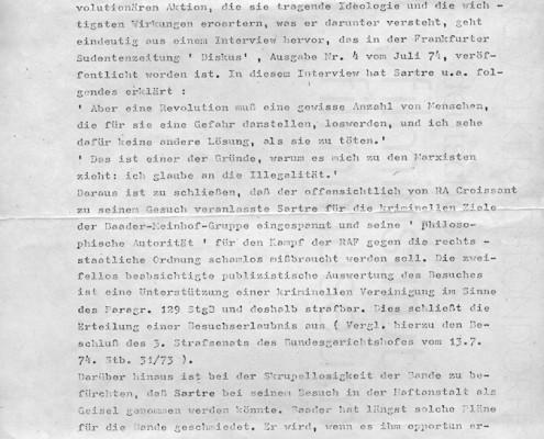 DIE VERLORENE EHRE DER KATHARINA BLUM // Vorbereitungsmaterial / Konvolut zu Sartres Besuchsantrag in Stuttgart-Stammheim b