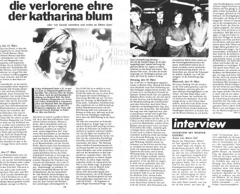 DIE VERLORENE EHRE DER KATHARINA BLUM // Presse / Drehbericht Stadtzeitung für München b