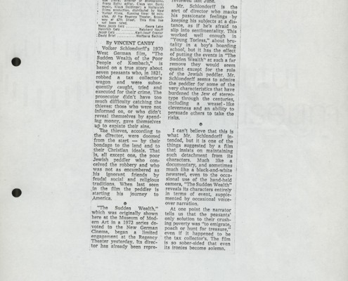 DER PLÖTZLICHE REICHTUM DER ARMEN LEUTE VON KOMBACH // Presse / Filmkritik The New York Times