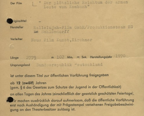 DER PLÖTZLICHE REICHTUM DER ARMEN LEUTE VON KOMBACH // Sonstiges / FSK-Prüfergebnis 1