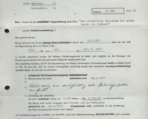DER PLÖTZLICHE REICHTUM DER ARMEN LEUTE VON KOMBACH // Werbung und Verleih / FBW-Korrespondenz 1