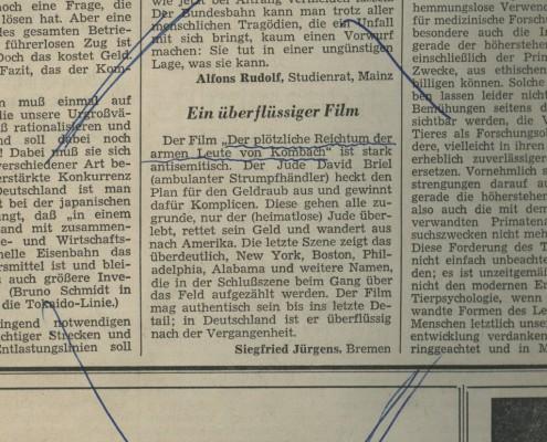 DER PLÖTZLICHE REICHTUM DER ARMEN LEUTE VON KOMBACH // Presse / Leserbrief Jürgens