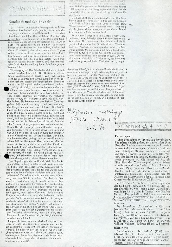 DER PLÖTZLICHE REICHTUM DER ARMEN LEUTE VON KOMBACH // Presse / Allgem. unabh. jüd. Wochenzeitung