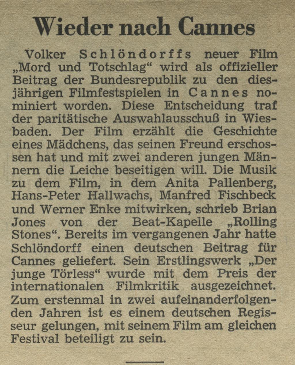 """MORD UND TOTSCHLAG // Presse / """"Wieder nach Cannes"""""""