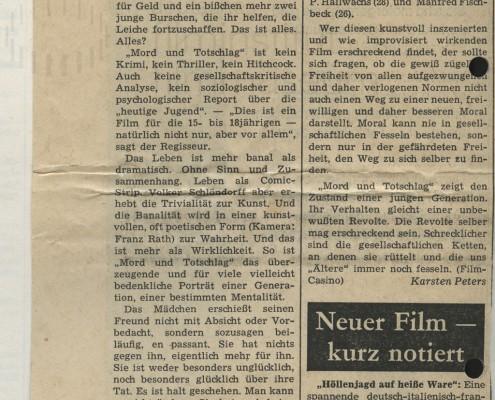 MORD UND TOTSCHLAG // Presse / Filmkritik Abendzeitung München 2