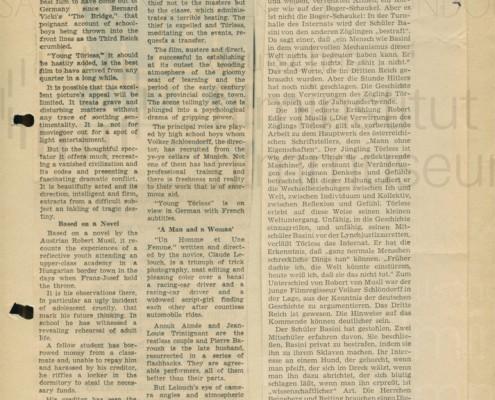 DER JUNGE TÖRLESS // Presse / Filmkritik New York Times, Rheinischer Merkur