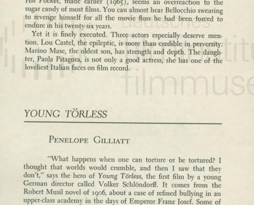 DER JUNGE TÖRLESS // Presse, Filmkritiken / Young Törless 001
