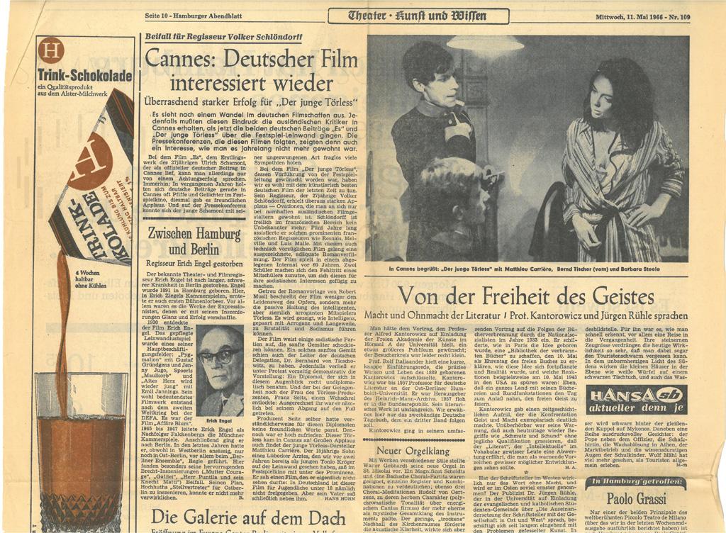 DER JUNGE TÖRLESS // Presse / Filmkritik Hamburger Abendblatt