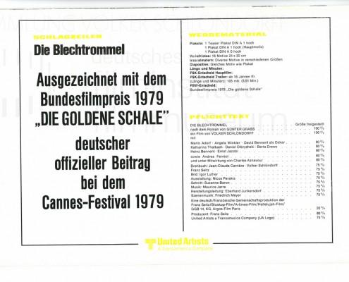 DIE BLECHTROMMEL // Werbung und Verleih / Werberatschlag von United Artists b