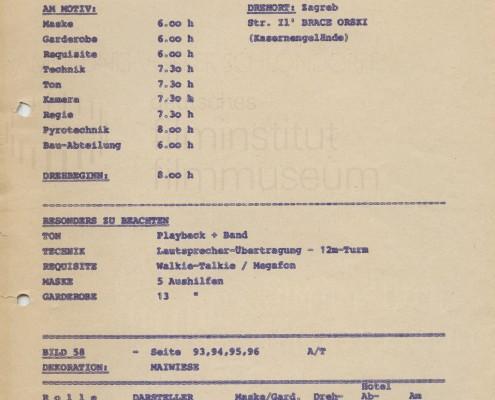 DIE BLECHTROMMEL // Produktionsunterlagen / Tagesdisposition 1. Drehtag