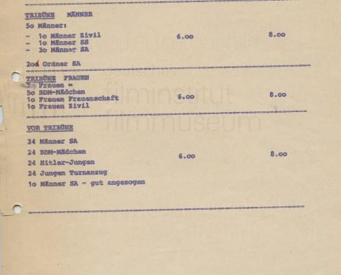 DIE BLECHTROMMEL // Produktionsunterlagen / Tagesdisposition 1. Drehtag b