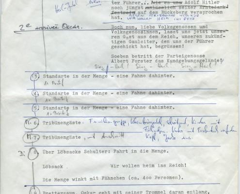 DIE BLECHTROMMEL // Produktionsunterlagen / Notizen zur Maiwiesen-Sequenz 2