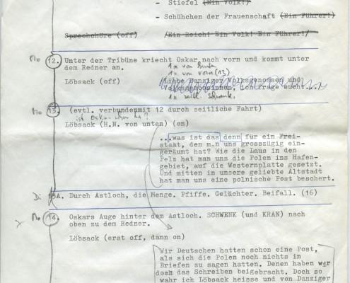 DIE BLECHTROMMEL // Produktionsunterlagen / Notizen zur Maiwiesen-Sequenz 3