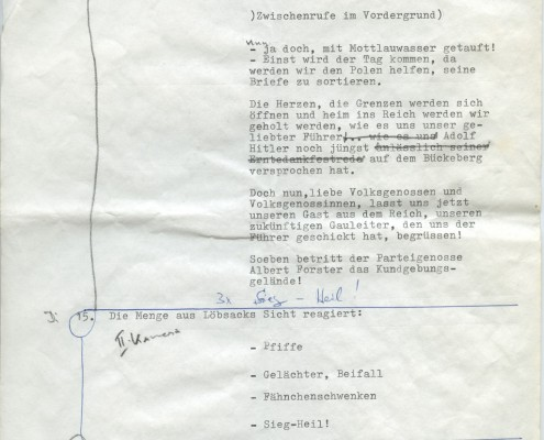 DIE BLECHTROMMEL // Produktionsunterlagen / Notizen zur Maiwiesen-Sequenz 4