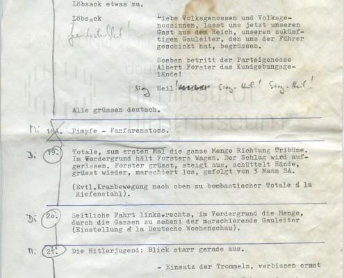 DIE BLECHTROMMEL // Produktionsunterlagen / Notizen zur Maiwiesen-Sequenz 5
