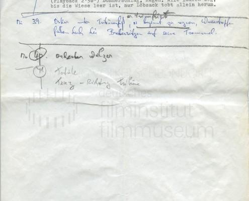 DIE BLECHTROMMEL // Produktionsunterlagen / Notizen zur Maiwiesen-Sequenz 8