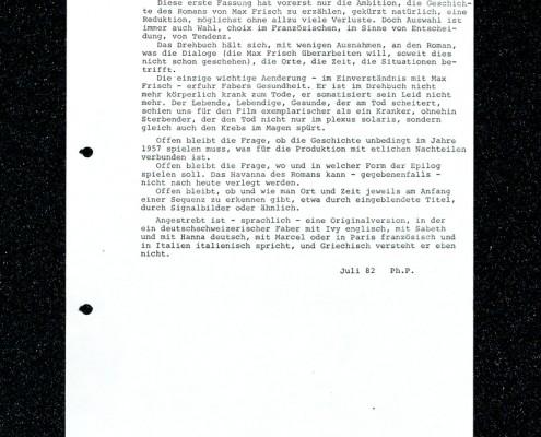 HOMO FABER // Vorbereitungsmaterial / Erste Fassung Drehbuch Pilliod (Auszug) c