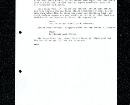 HOMO FABER // Vorbereitungsmaterial / Erste Fassung Drehbuch Pilliod (Auszug) f