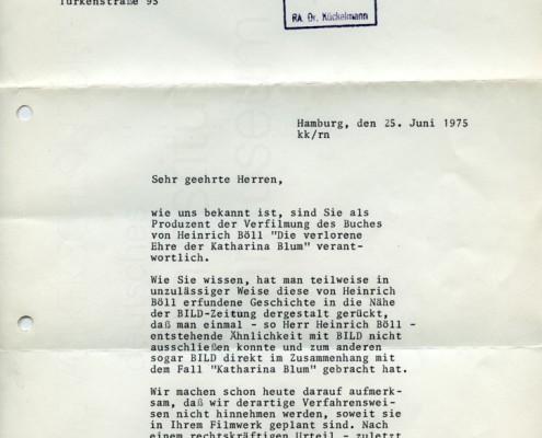 DIE VERLORENE EHRE DER KATHARINA BLUM // Korrespondenz / Reaktion des Axel Springer Verlags