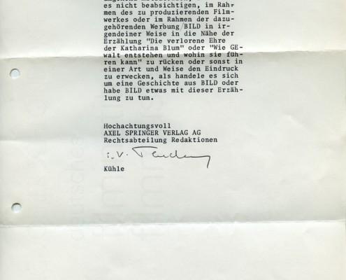 DIE VERLORENE EHRE DER KATHARINA BLUM // Korrespondenz / Reaktion des Axel Springer Verlags b