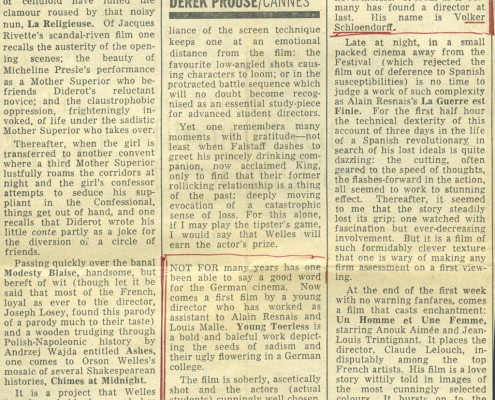 DER JUNGE TÖRLESS // Presse / Filmkritik The Sunday Times