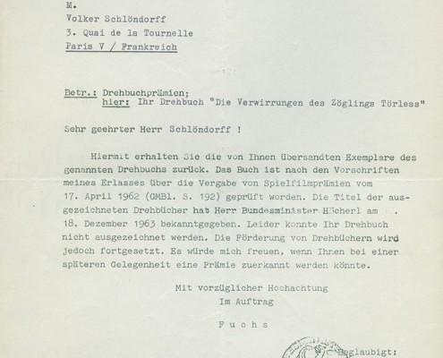 DER JUNGE TÖRLESS // Korrespondenz / Drehbuchprämie 1