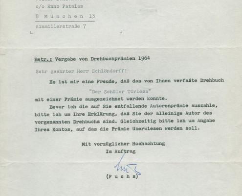 DER JUNGE TÖRLESS // Korrespondenz / Fuchs, Drehbuchprämie 2