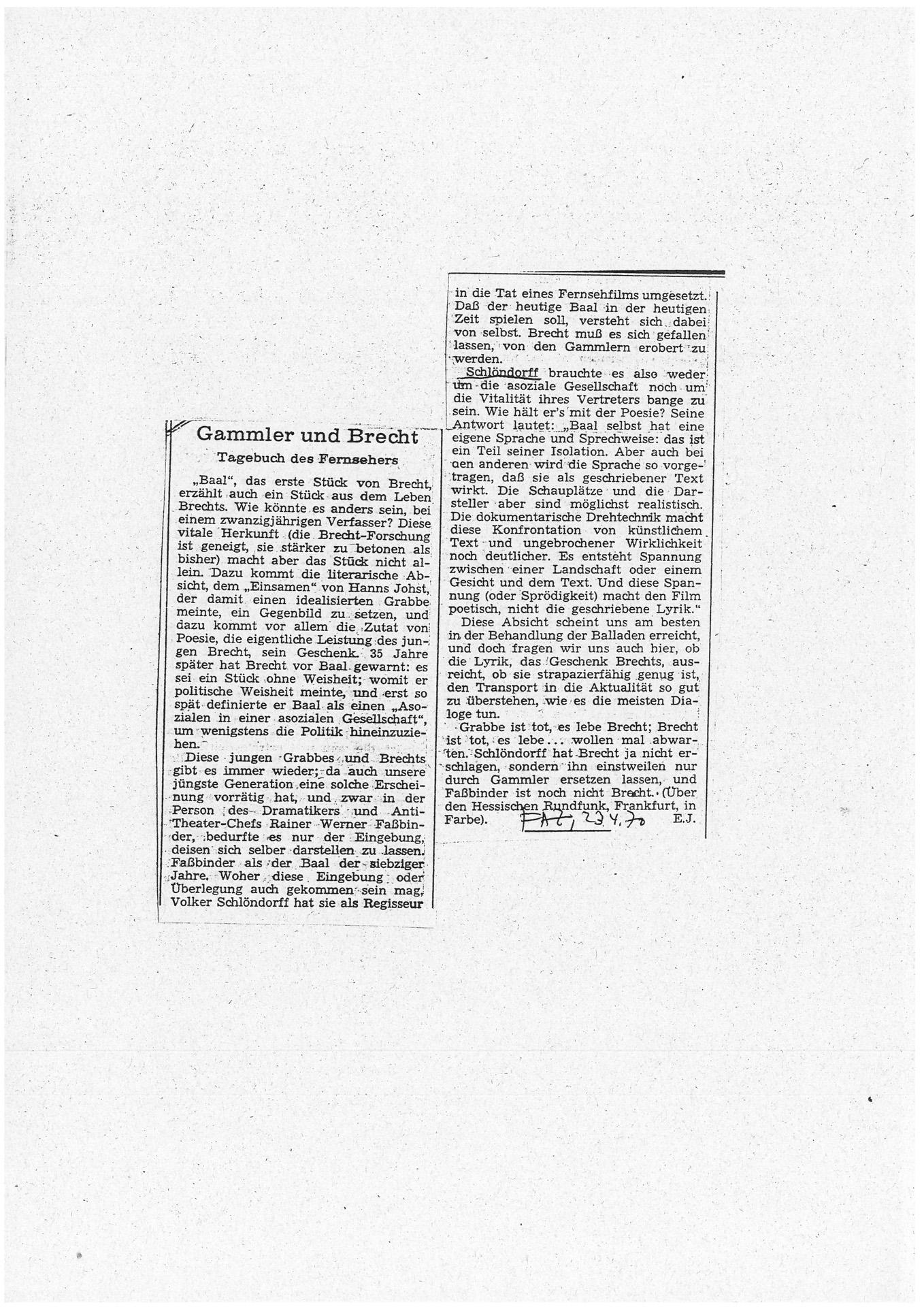 BAAL // Presse // Filmkritik Frankfurter Allgemeine Zeitung 2