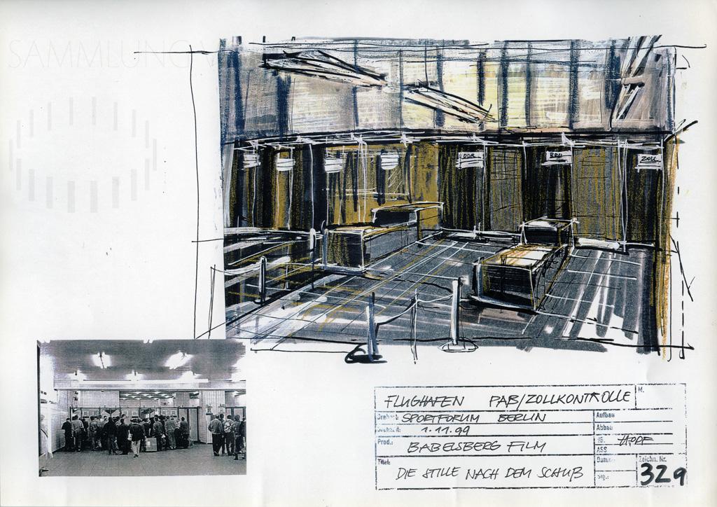 DIE STILLE NACH DEM SCHUSS // Produktionsunterlagen / Setdesign Entwurf 1