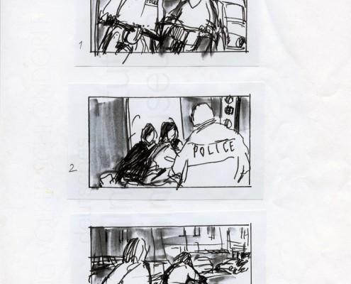 """DIE STILLE NACH DEM SCHUSS // Produktionsunterlagen / Storyboard """"Motorrad"""" 1"""